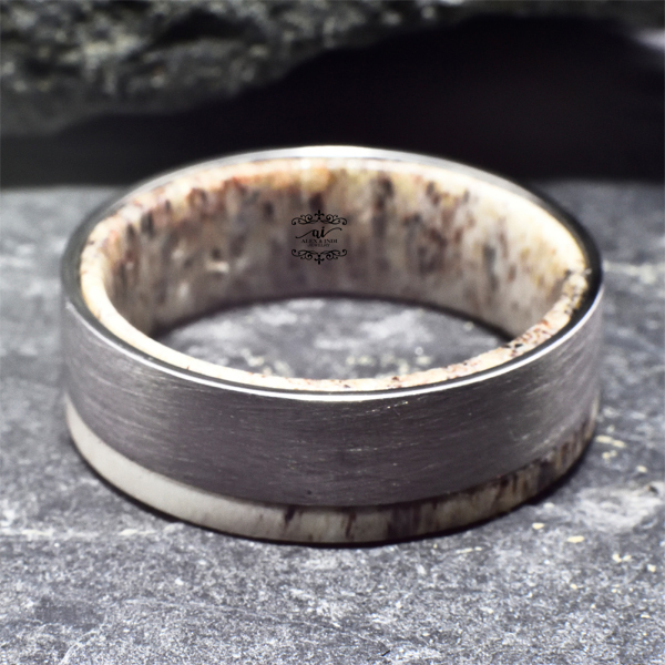 deer ring wedding band antler rings