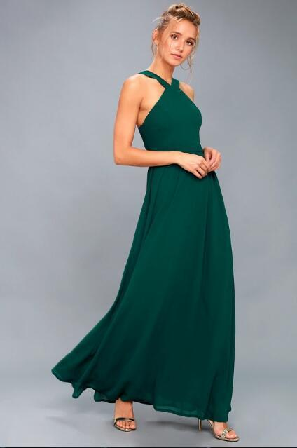 Elegant Halter Prom Dress Forest Green Miss Zhu Bridal