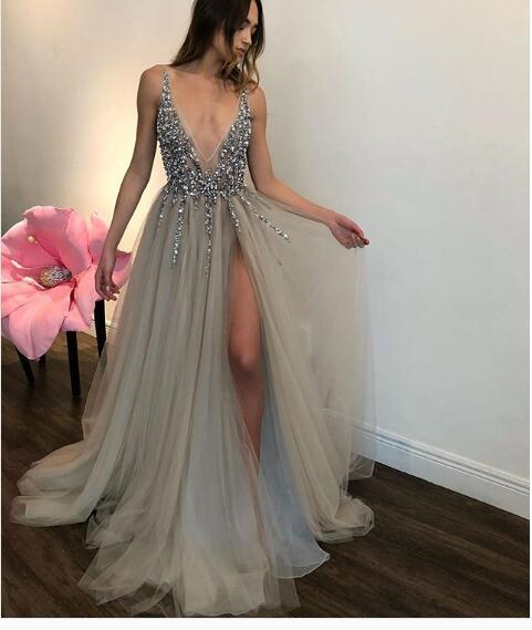 7cc3d68cb7 Sexy A-Line Deep V-neck Prom Dresses Grey with Beads Crystals Tulle Long