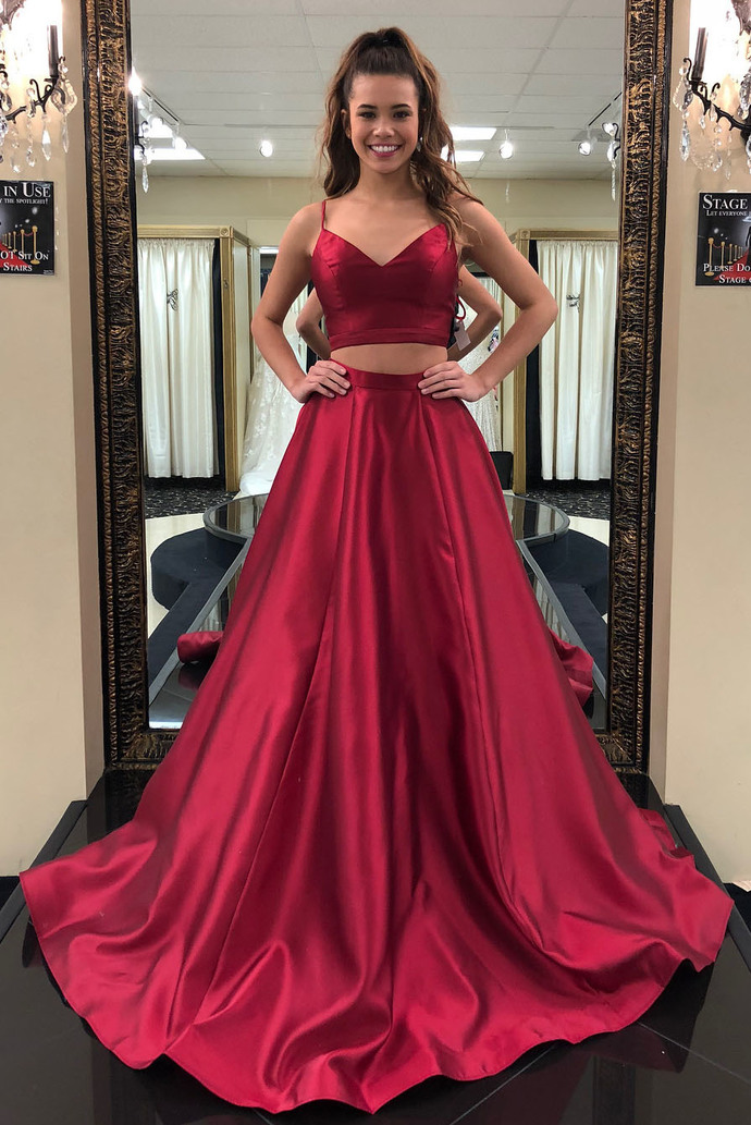 5cd8bdaaad6 Simple Red Two-Piece Long Prom by Miss Zhu Bridal on Zibbet