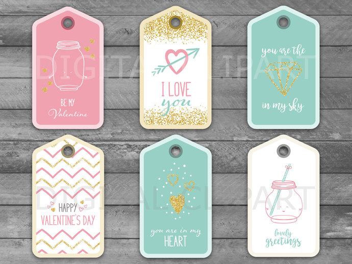 Unique Valentine's Day Printable Tags, Valentine Tag, Wedding gift, Tags or