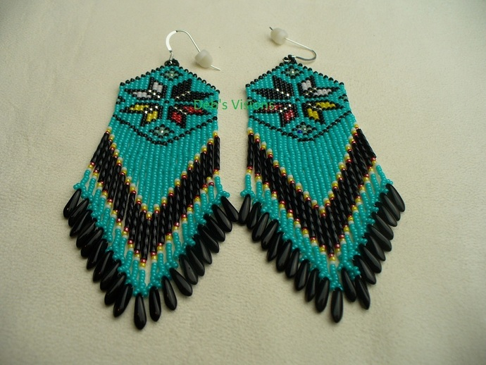 Native American Style Square Stitched Four Directions Morning Star Earrings in