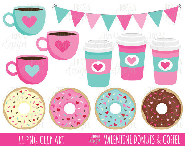 50 sale valentine clipart coffe and donut by tereveladesign on rh zibbet com clipart donuts and coffee donuts clipart transparent