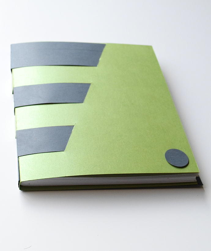 Green and Grey Crossbound Book