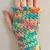 READY TO SHIP Pastel Rainbow Gloves, Blue/Yellow/Pink/Orange - Women's Teens -