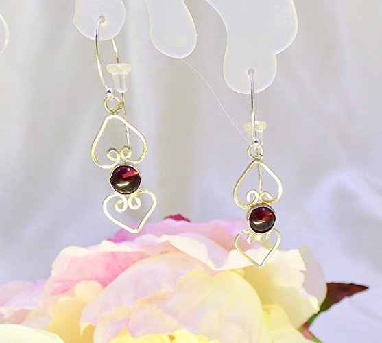 Garnet Heart Drops Sterling Silver Earrings