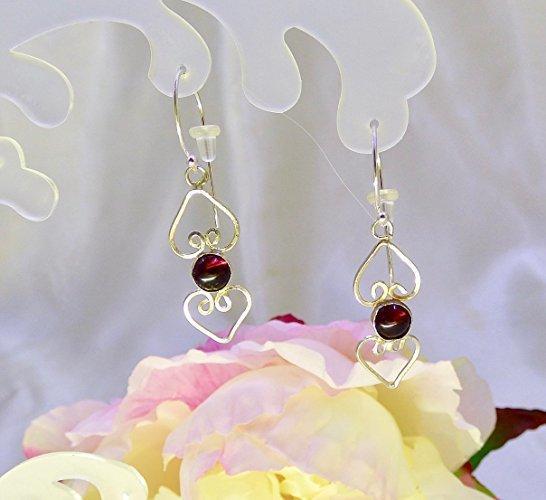 Garnet Heart Drops Sterling Silver Earrings