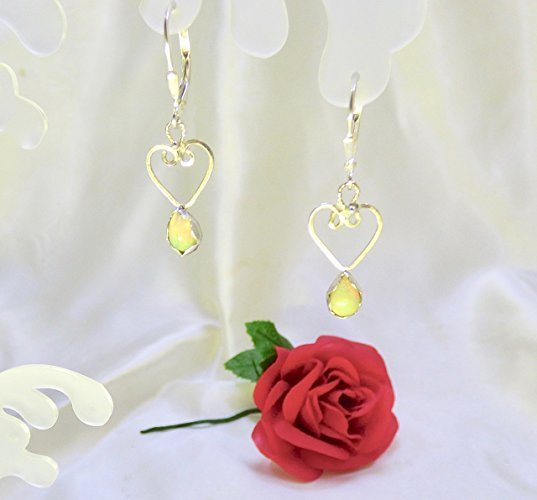 Opal Heart Drops Sterling Silver Earrings