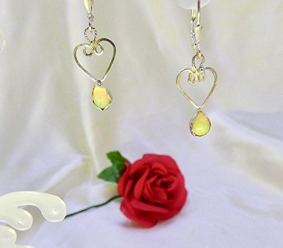 Opal Heart Drops Sterling Silver Earrings