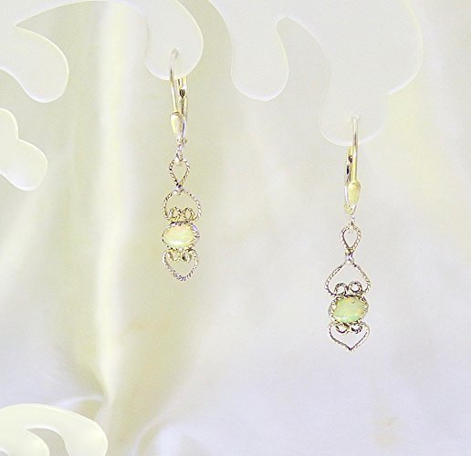 Mini Opal Heart Drops Sterling Silver Earrings