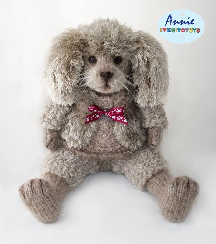 "Puppy, 19,2"" Poodle, Knitted Poodle, Knitted Puppy, Puppy Poodle, Interior toy,"