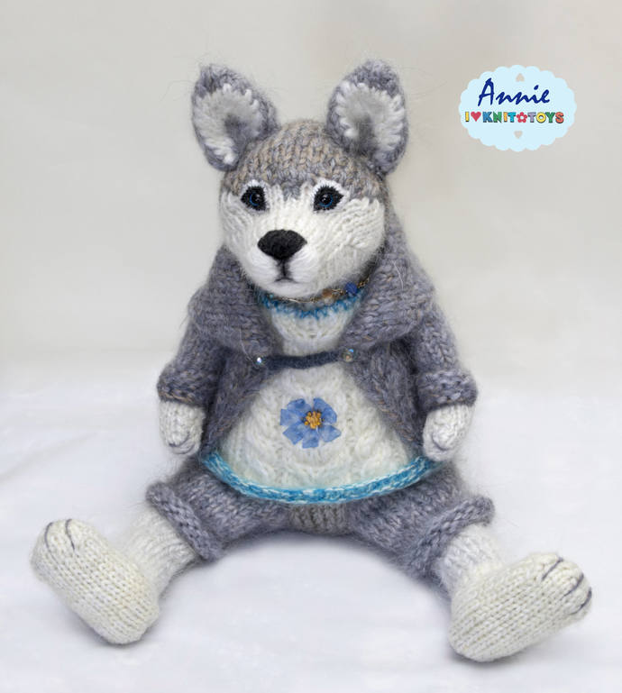 "Husky, 19,2"" Dog, knitted dog,  Doggie, Knitted Doggie, Puppy, knitted puppy, To"