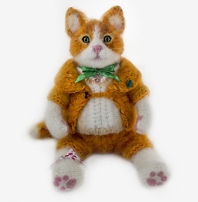 """Kitten, 17,7"""" Red kitten, Knitted Kitten, Interior Toy, Author toy, Cat,  To"""