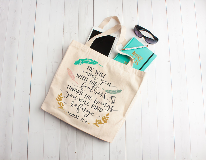 Totes with Bible Verses, Custom Bible Study Bags, Church bags, personalized gift