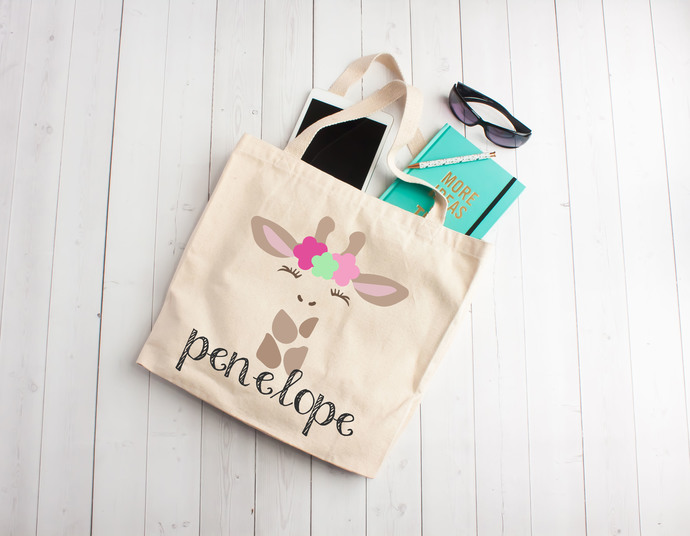 Girl Giraffe, Custom Tote Bag, Personalized Kids totes, childrens book bags,