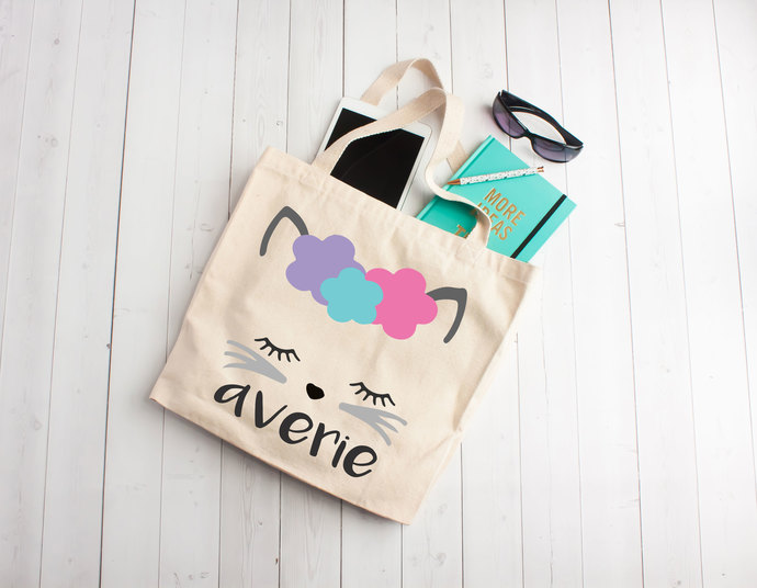 Cute Kitty, Kitty tote bag, Custom Tote Bag, Personalized Kids totes, childrens