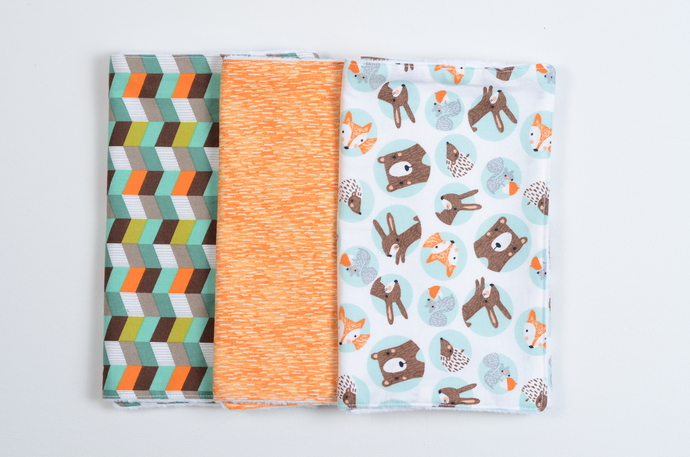 Burp Clothe Bundle//Set of 3 - Modern Woodland