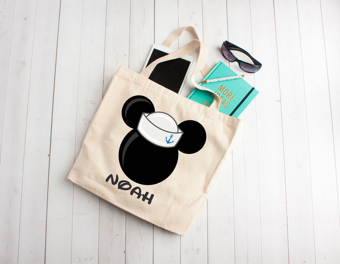 Mouse with Sailor hat, mickey theme, disney, tote bag, Custom Tote Bag,