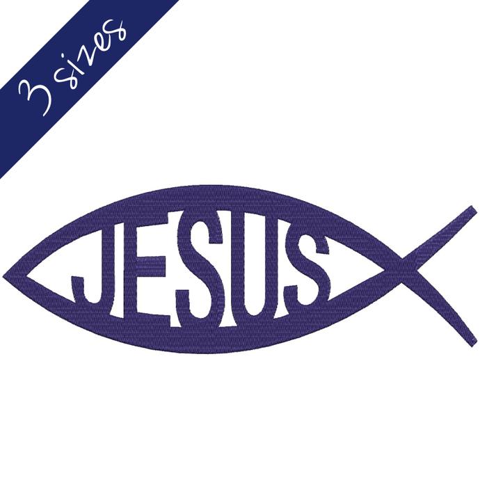 Jesus Machine Embroidery Design 4x4 5x7 6x10 Christian Fish pes designs machine
