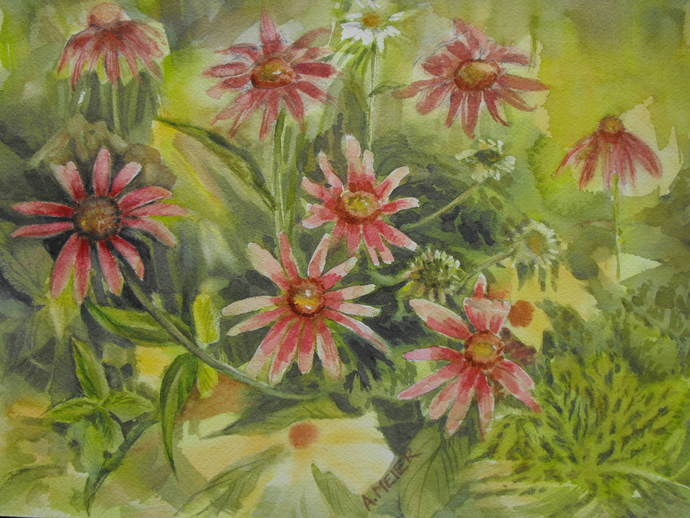 Original watercolour botanical painting, impressionist style, Summer floral,