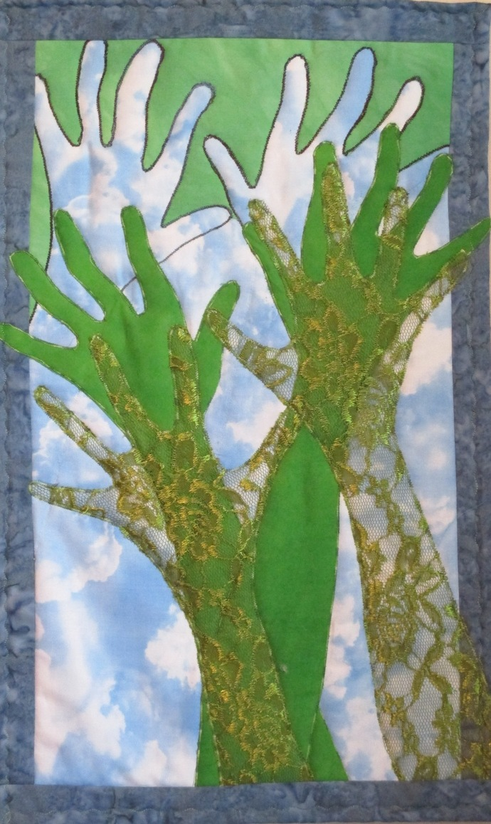 "Reach for the Sky quilt art, 13""x22"""