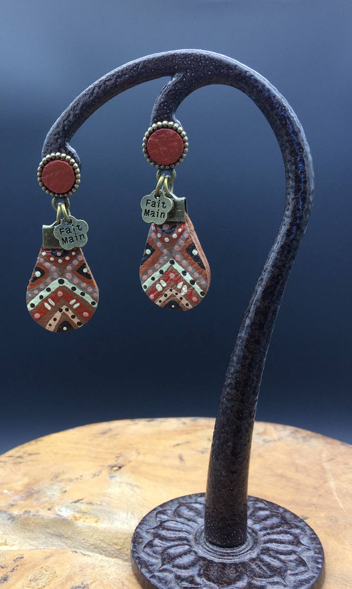 Handmade and hand painted lightweight leather earrings