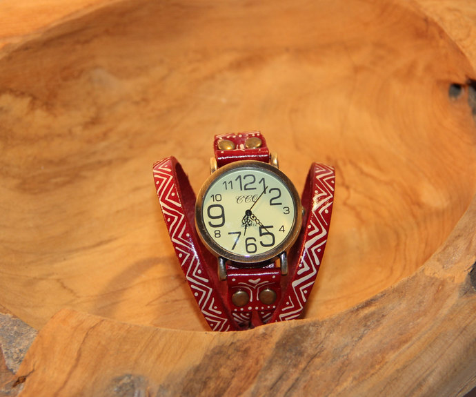 Red hand painted genuine leather bracelet watch