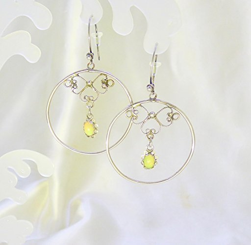 Sparkling Opal Hoop Antiqued Sterling Silver Earrings