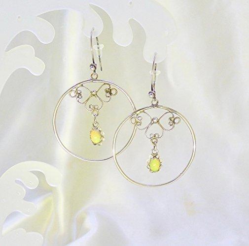 Sparkling Opal Hoop Antiqued Sterling Silver Earrings