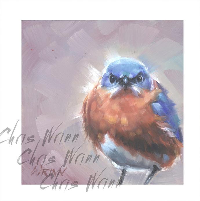 "Mad BlueBird Oil Painting 5x5""  Bird Art, Bird Watcher Painting Ready for"