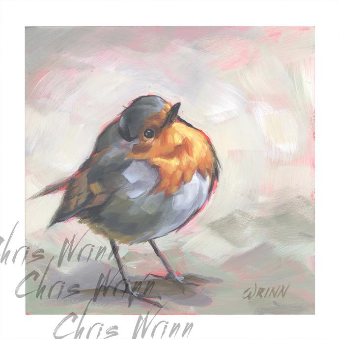 """European Robin Painting 5x5""""  Bird Art, Bird Watcher Painting, Nature, Bird"""