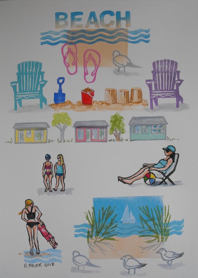 Beach art, flip flops, cottage, seagulls, Muskoka chairs, Lake Huron, original