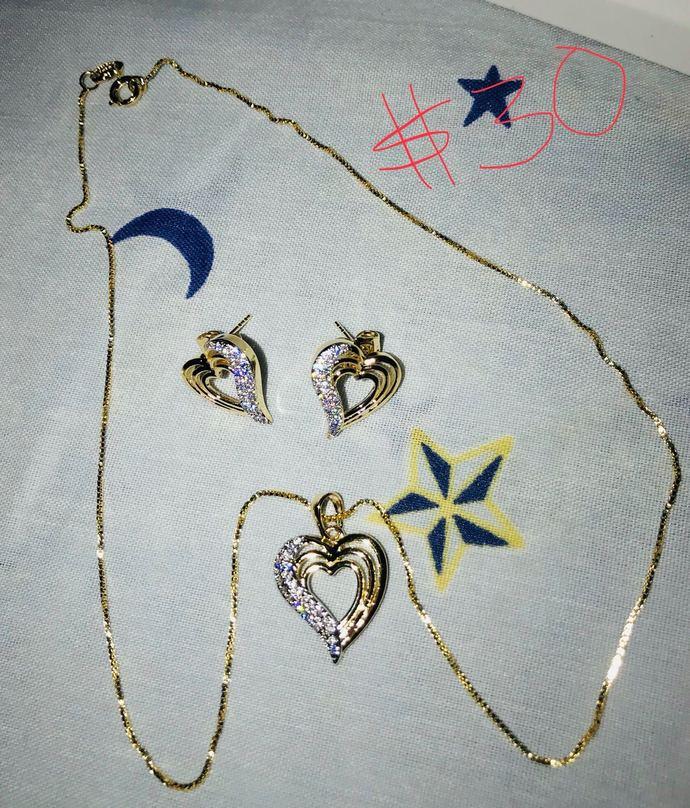 """""""I heart u"""" gold filled set"""