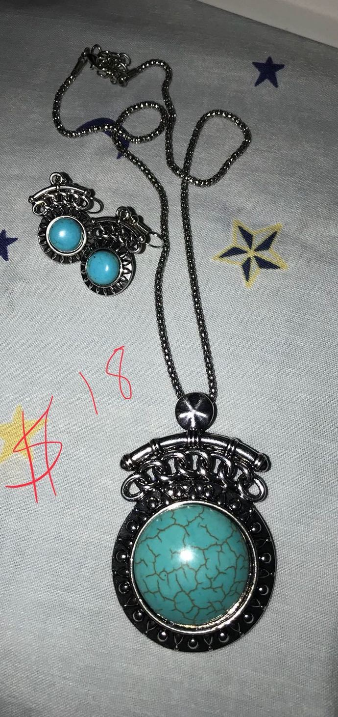 Turquoise silver set  fashion