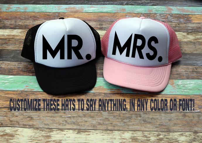 Set of Mr. & Mrs. Custom Trucker Hats, personalized hats, bridal hats, custom