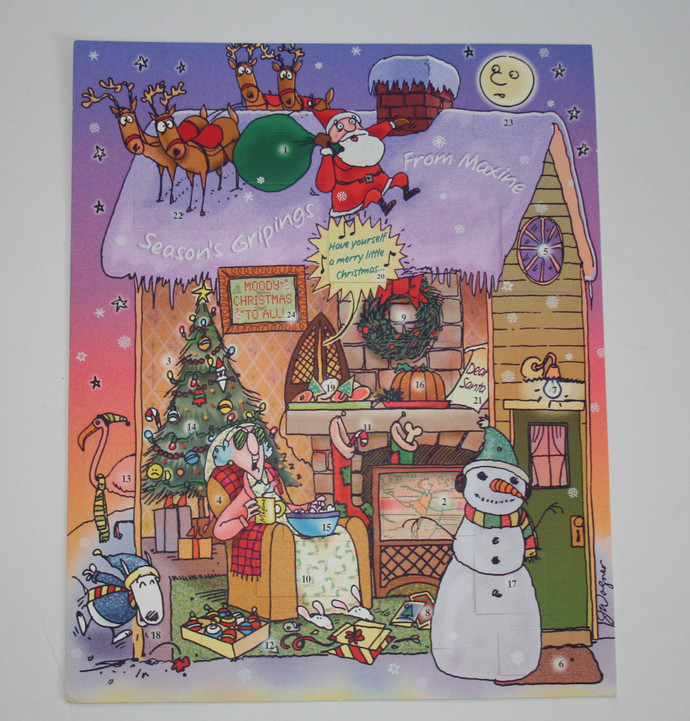 "Hallmark Maxine Season's Gripings Advent Calendar Shoebox 10"" x 13"" Heavy"