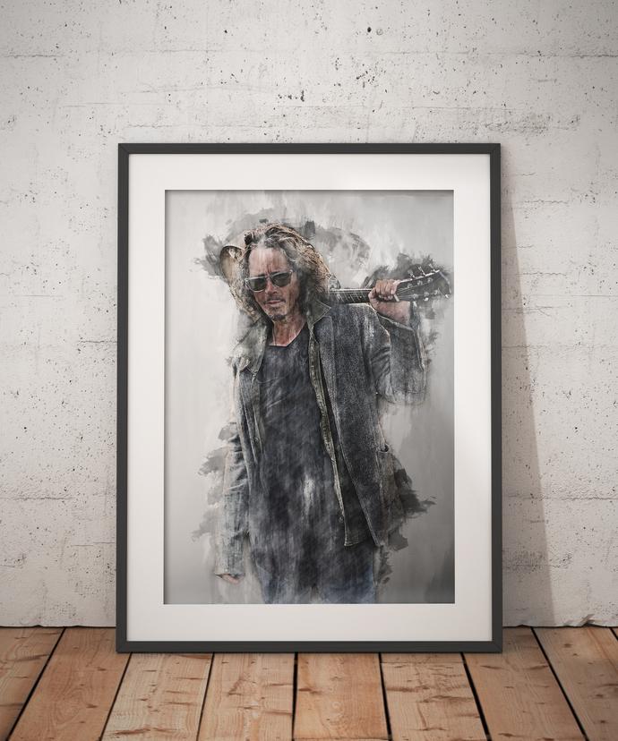 Chris Cornell print Chris Cornell poster wall art home decor