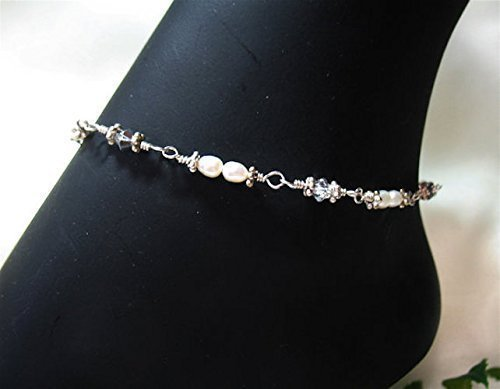 Exquisite Pearls & Crystals Sterling Silver Ankle Bracelet