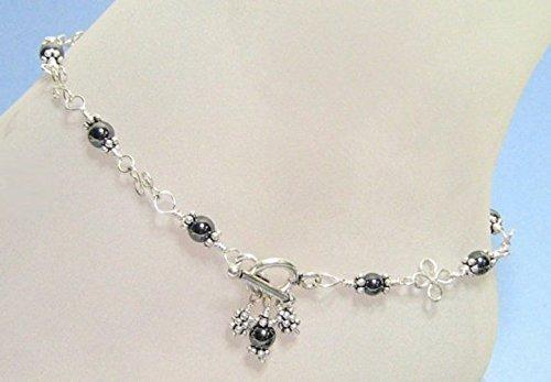 Shining Hematite Ankle Bracelet in Sterling Silver
