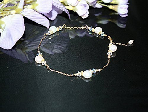 Gold Filled FW Pearls & Crystals Ankle Bracelet