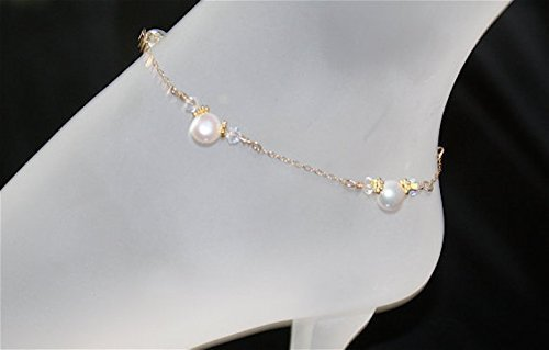 Gold Filled FW Pearls & Crystals Ankle Bracelet