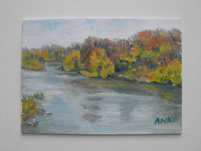 Original small landscape, oil on canvas panel, 5 X 7, Autumn, fall colours, View