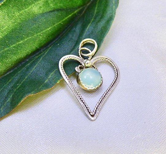 Chalcedony Heart in Sterling Silver Pendant