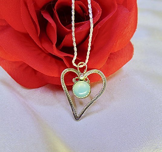 Chalcedony Heart in Silver Pendant
