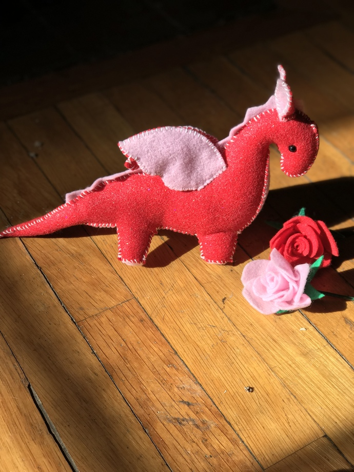 Red Valentine Dragon - handcrafted stuffed toy Dragon by My Wee Dragon
