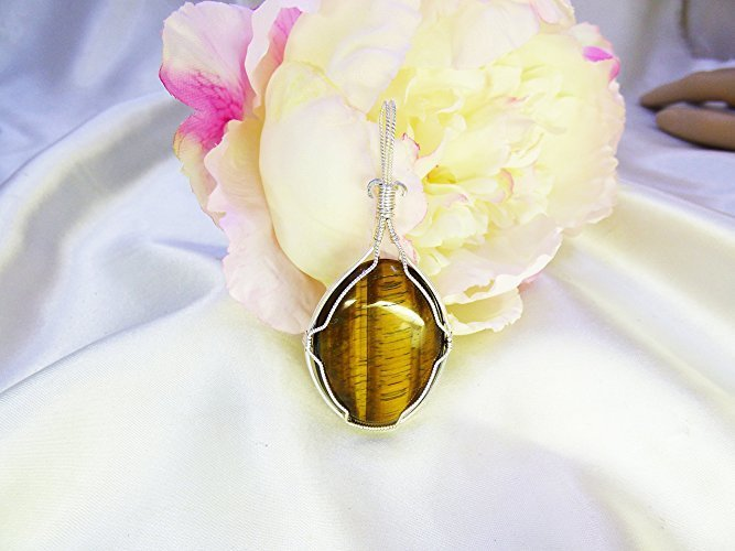 Golden Tiger Eye in Sterling Silver Wrapped Pendant