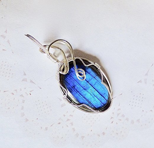 Beautiful Blue Waves of the Deep Sterling Silver Pendant