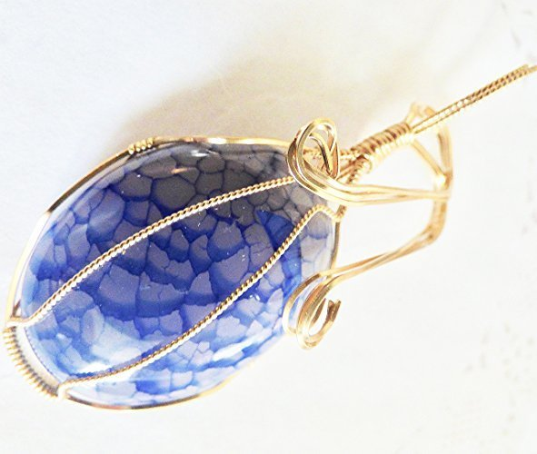 Beautiful Blue Dragon Scale Pendant in Gold