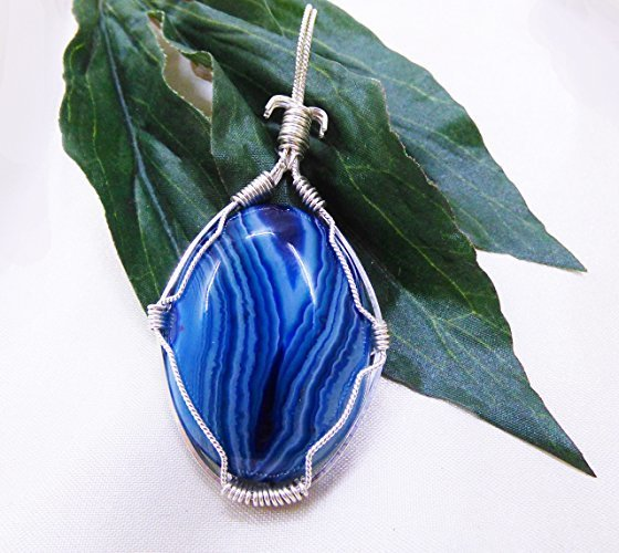 Blue Moon Onyx Striped Sterling Silver Pendant