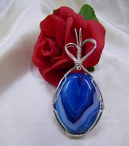 Heart Blue Onyx Striped Sterling Silver Pendant